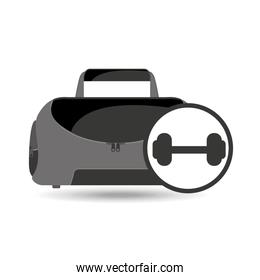 fitness sport bag icon barbell