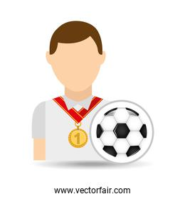 athlete medal soccer ball icon graphic