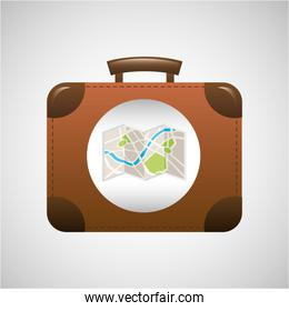 concept travel suitcase vintage and map design graphic