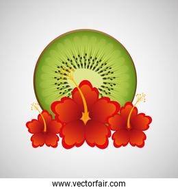 tropical kiwi fruit and beautiful red flowers