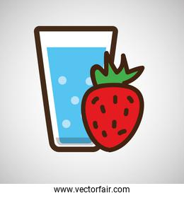 cartoon cup glass water with