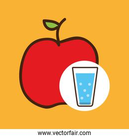 cartoon cup glass water with apple fruit
