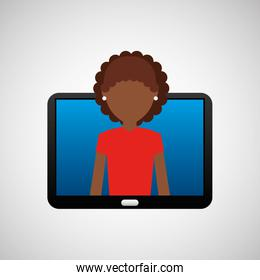 tablet black technology and character afro woman