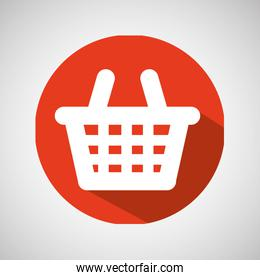 cartoon red basket e-commerce online icon