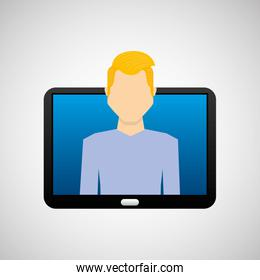 tablet black technology and character blond man