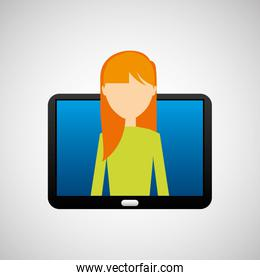 tablet black technology and character blonde woman