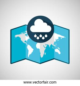 map with silhouette cloud rain weather graphic