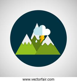 snowy mountains. lightning cloud weather concept design
