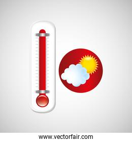 red thermometer icon cloud sun weather meteorology