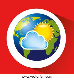 map with icon cloud sun weather graphic