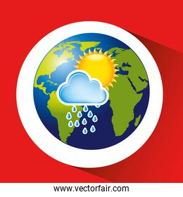 map with icon rain cloud sun weather graphic