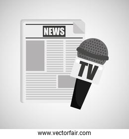news paper microphone tv icon
