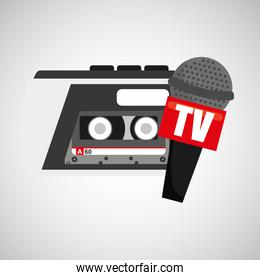 tape recorder microphone tv news icon