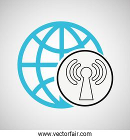 connection concetp globe symbol wifi