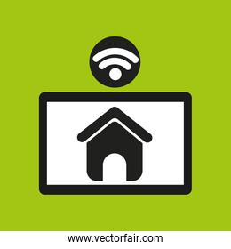 hand hold tablet wifi web page icon