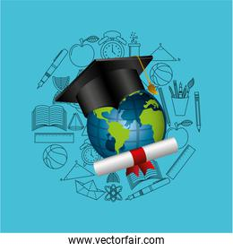 distance education graduation icons