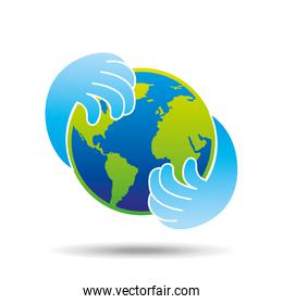 hands hold globe environment earth icon