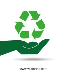 recycle symbol hands holding design icon
