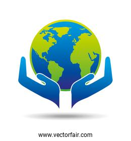 hands holding globe concept ecology icon