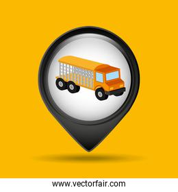 animal transport truck icon graphic