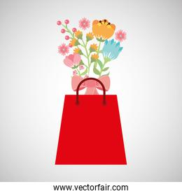 shopping bag with beauty bouquet flower