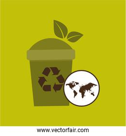 world recycling trash can design graphic