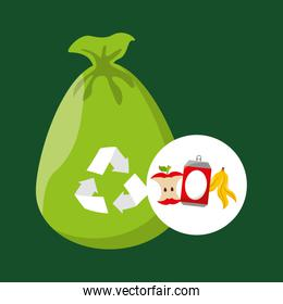 concept recycling process trash icond design