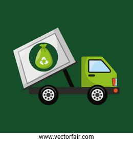 garbage truck recycle icon design