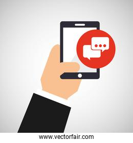 hand holding smartphone and bubble chat