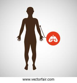 silhouette man with lungs organ body icon