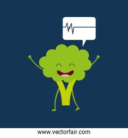 healthy broccoli cute, heartrate icon background
