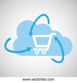 cloud technology shopping online media icon