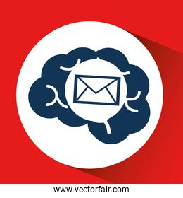 concept network, silhouette head with email message media icon