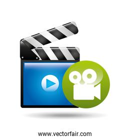 video player concept clapper and movie camera