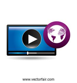 video player globe interface design