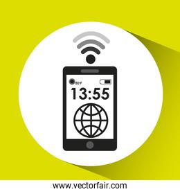 smartphone display globe connection media design
