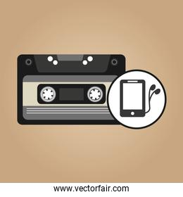 music cassette headphones vintage background desgin