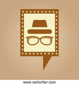 concept hipster hat and glasses retro