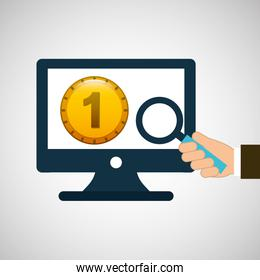 business financial money coin online icon