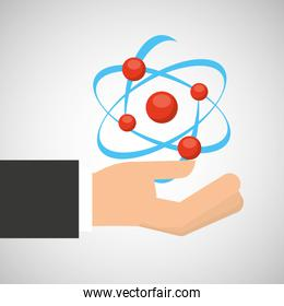 hand holding molecule structure chemical graphic
