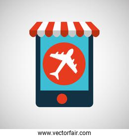 mobile phone e-commerce and travel airport