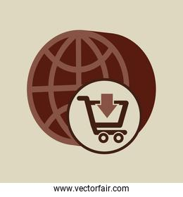 ecommerce with globe earth connection and shopping cart