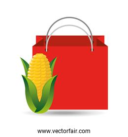 red bag buying corn cob vegetable
