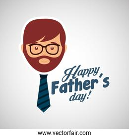 greeting fathers day card man bearded with tie