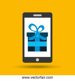 technology gift over yellow