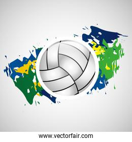 ball volleyball olympic games brazilian flag colors