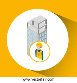 under construction worker  with building