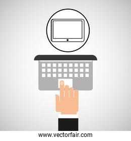 hand touch laptop web tablet