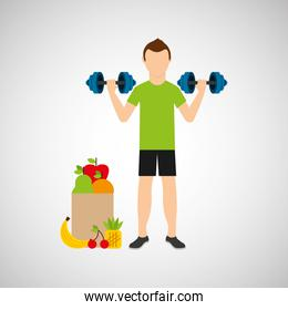 man barbell lift exercising bag health food