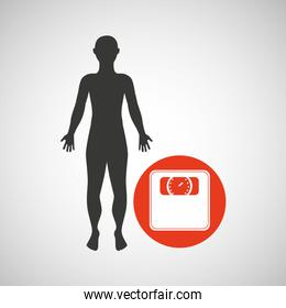 silhouette man fitness weight scale